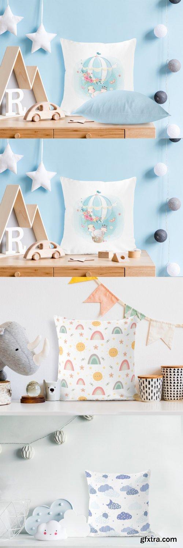 CreativeMarket - Pillows in Kids Room Mock-ups Set 6272135