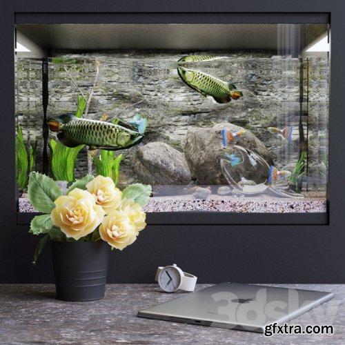 Decorative set with aquarium