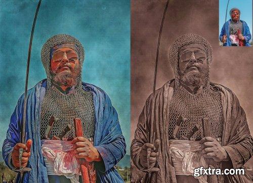 CreativeMarket - Old Oil Paint Photoshop Action 5446466
