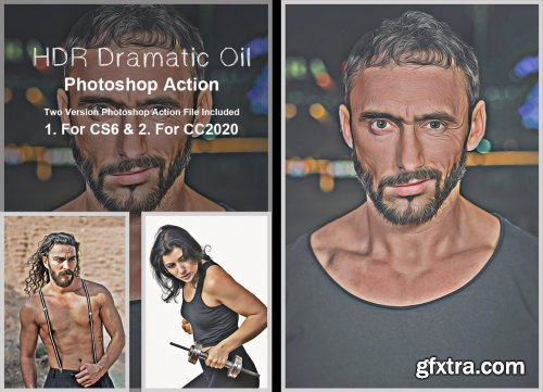 CreativeMarket - HDR Dramatic Oil Photoshop Action 5383148