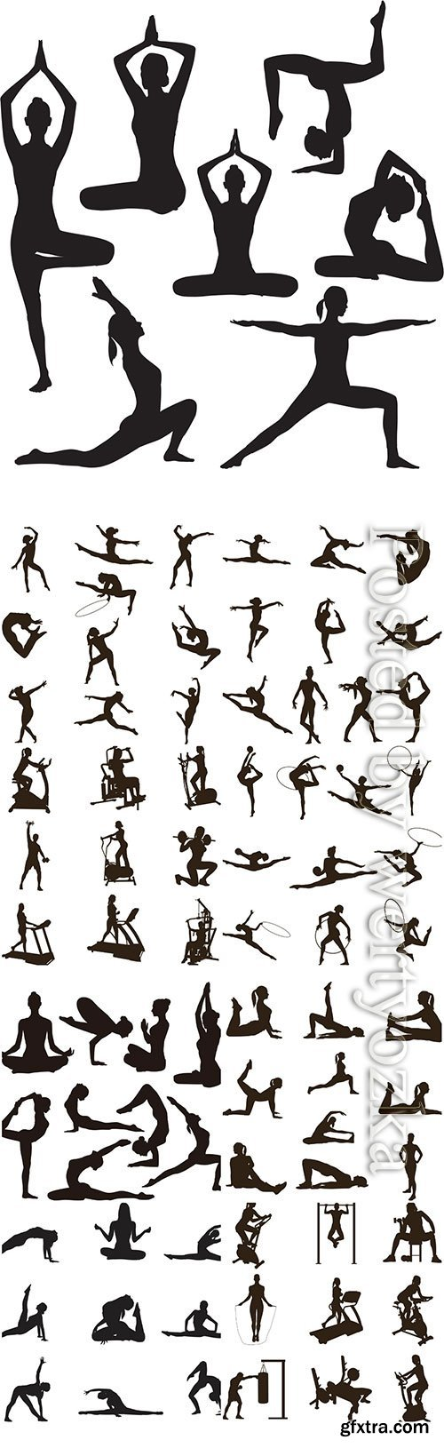 Silhouettes of women go in for sports, fitness, yoga