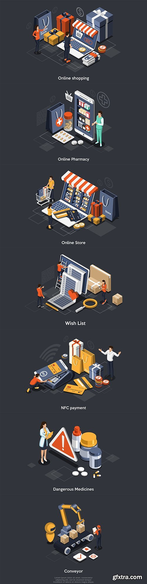 Isometric online store app for store, mobile shopping concept