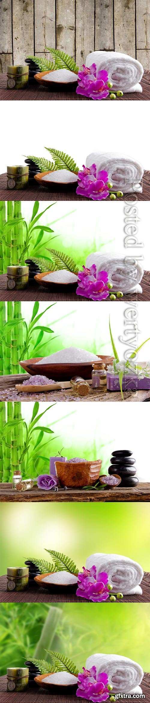 Spa backgrounds with bamboo branches, spa stones and orchids