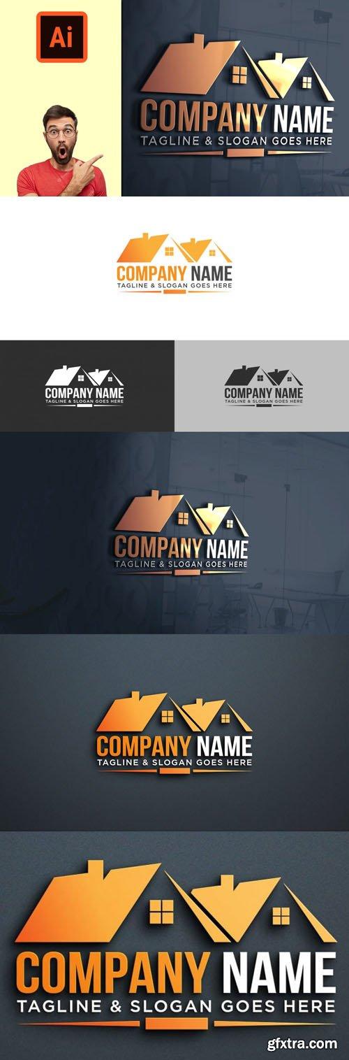 Construction Company Logo Design Template for Illustrator