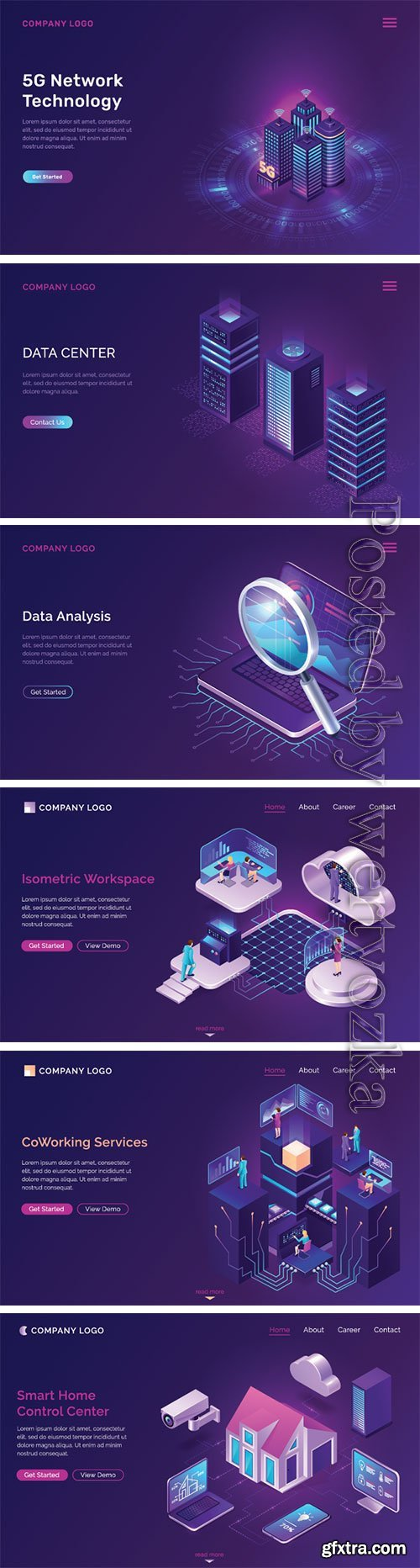 Working space isometric futuristic concept vector