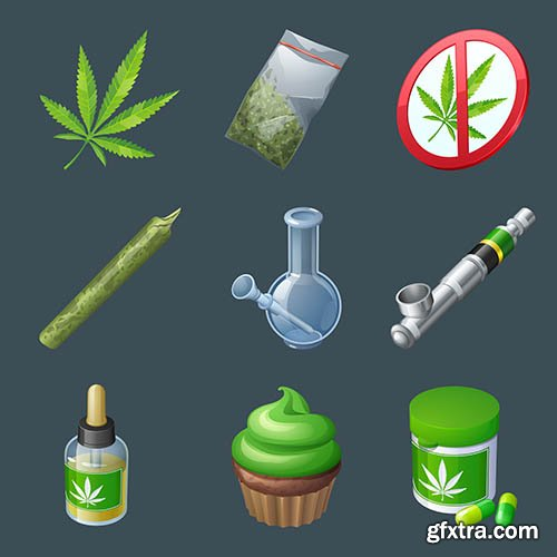 Set of cannabis production equipment object