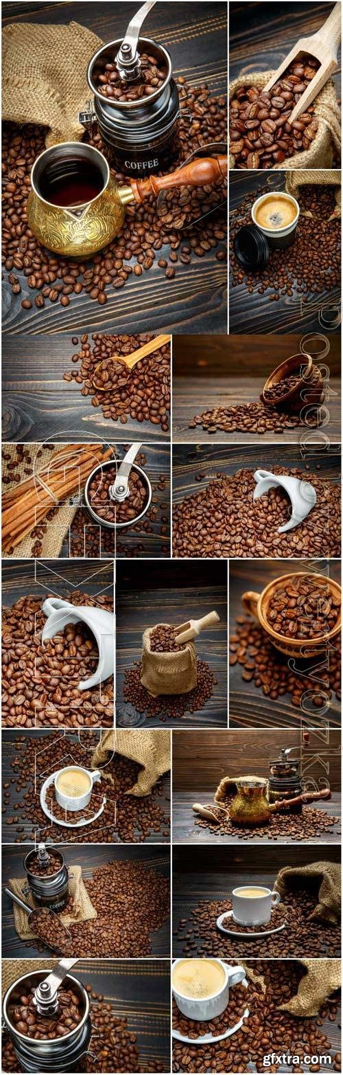Coffee grinder, turka for making coffee and coffee beans stock photo