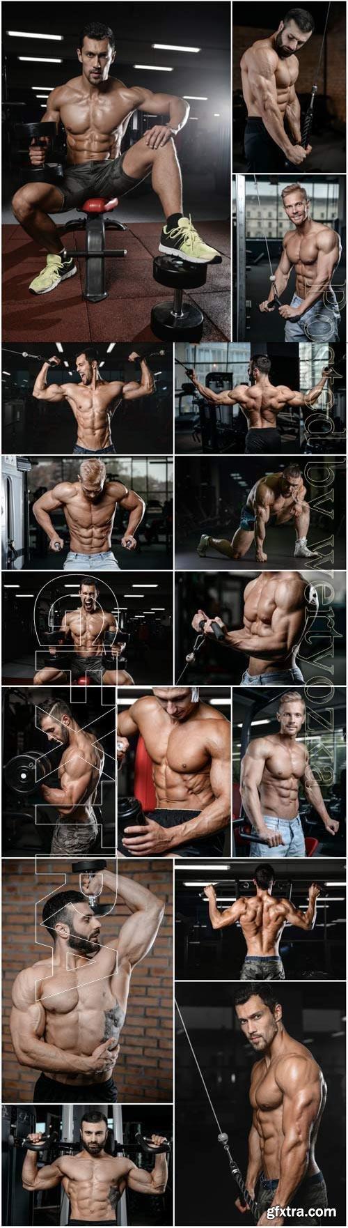 Athletic men in gym stock photo