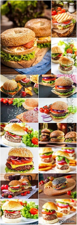Appetizing burgers stock photo