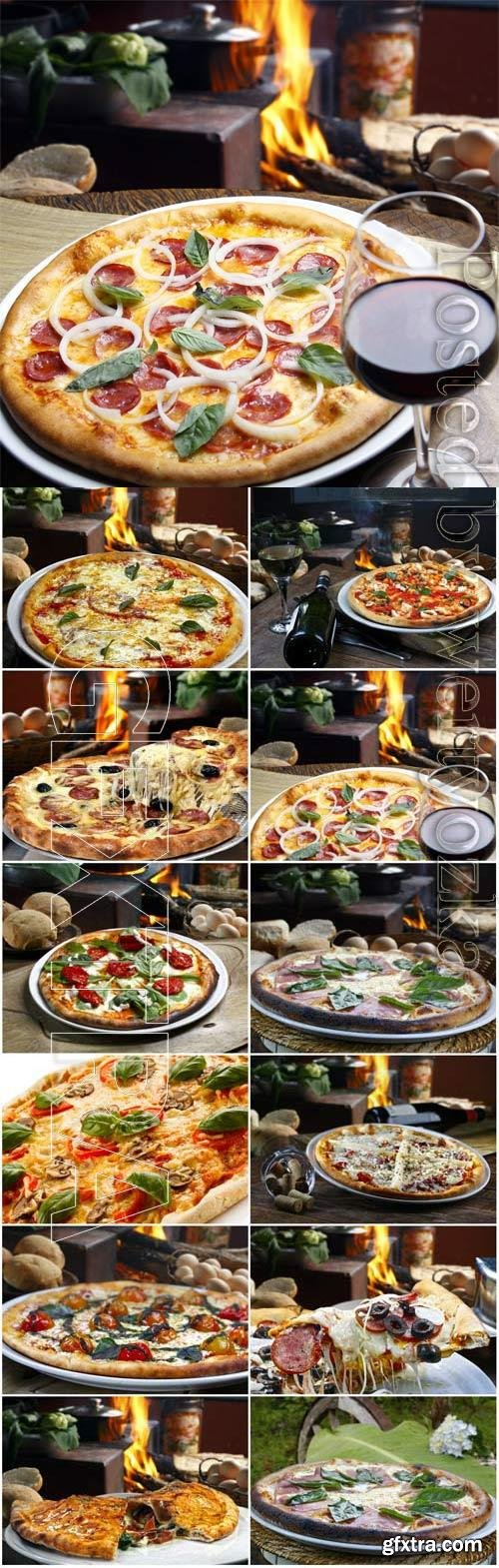 Delicious pizza and glass with wine stock photo
