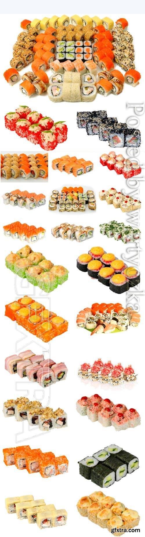 Assortment of sushi on white background stock photo