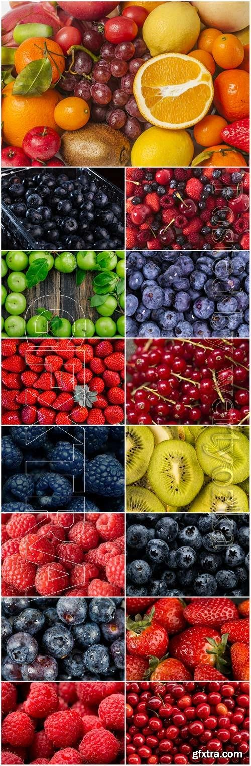 Fruits and berries stock photo set