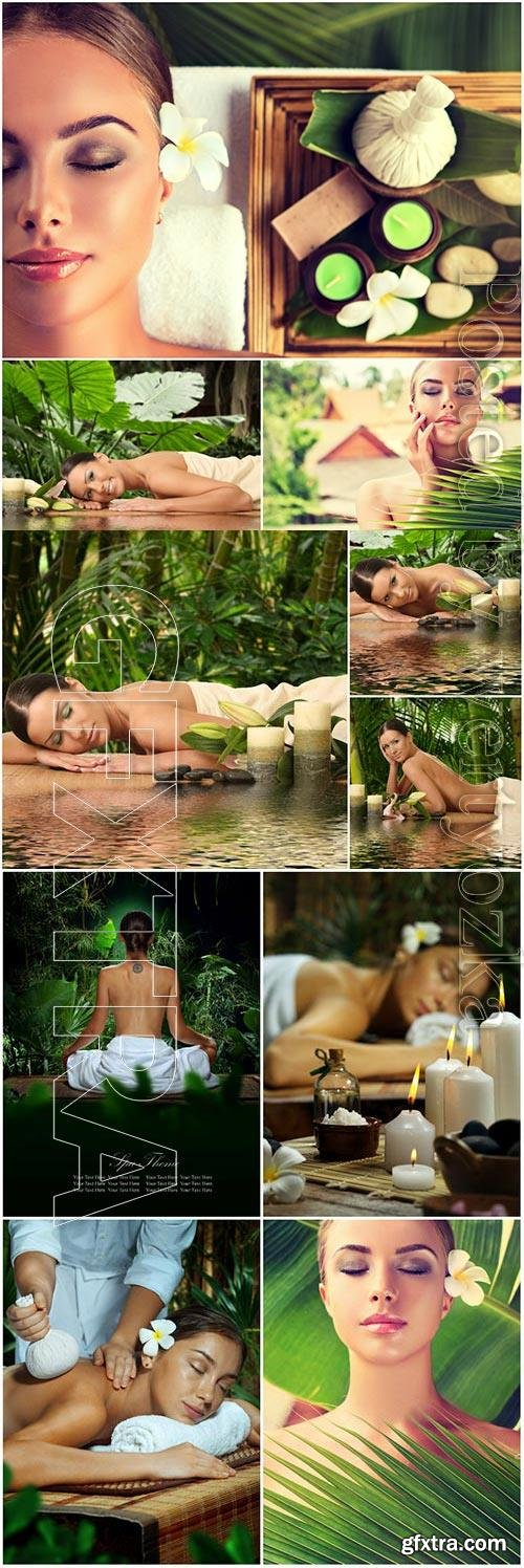 Visiting spa salon, girls stock photo