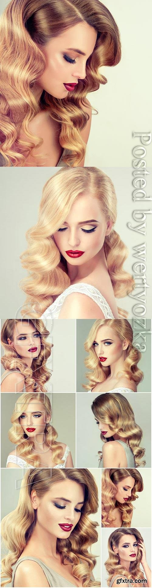 Lovely blonde girl with beautiful hair stock photo