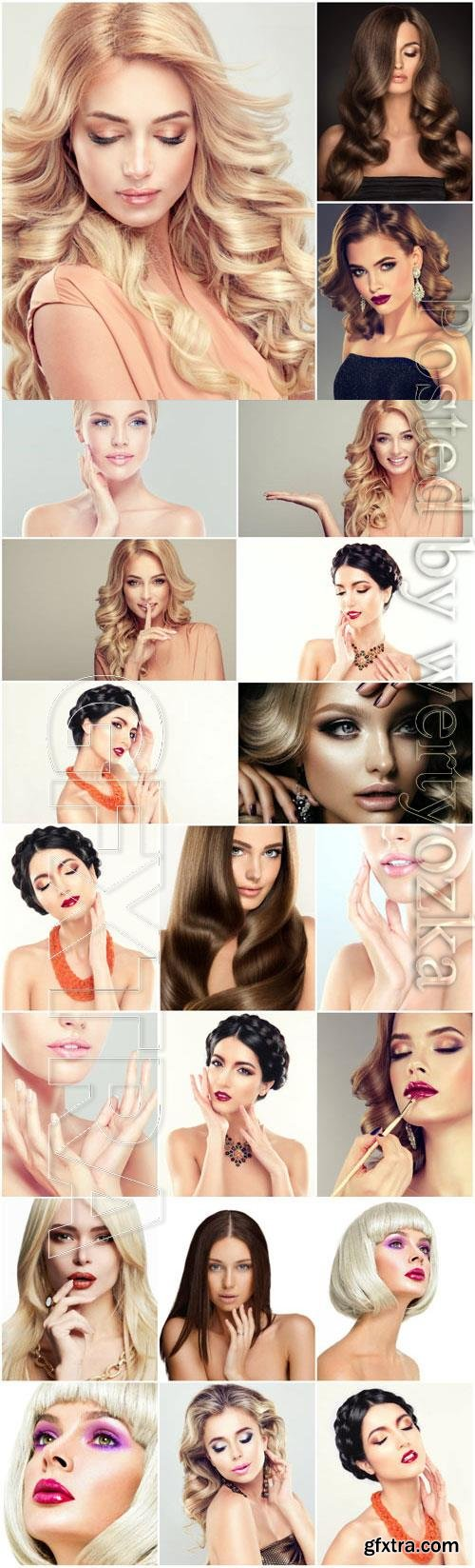 Luxurious girls with different hairstyles and fashionable makeup stock photo