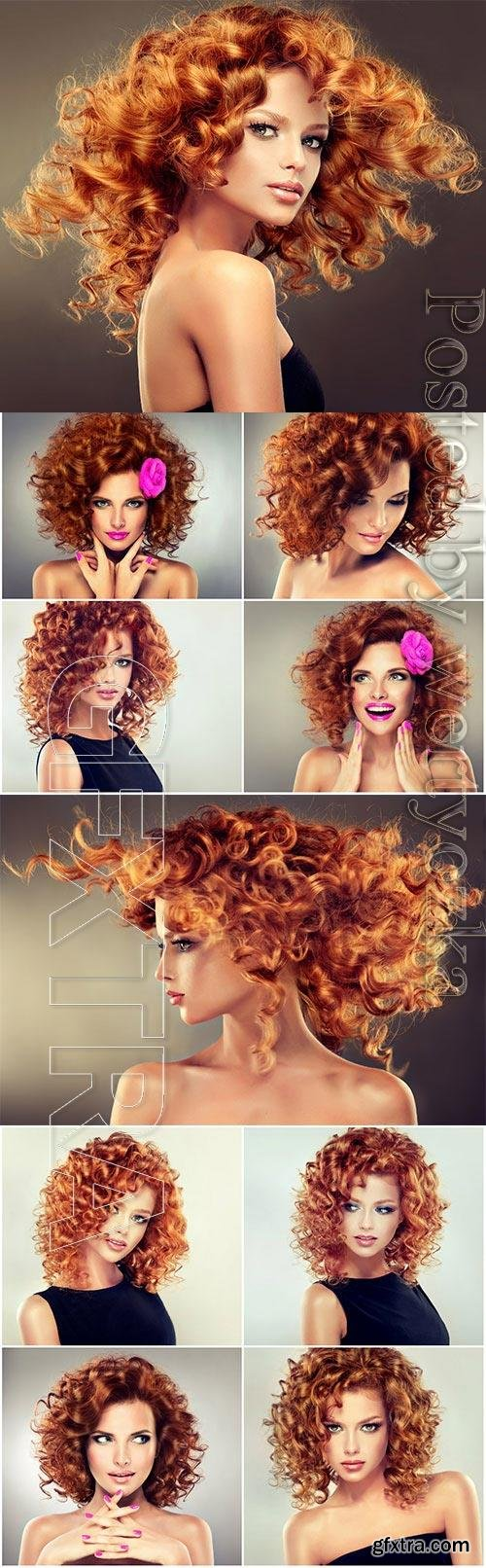 Fiery red hair of a beautiful girl stock photo