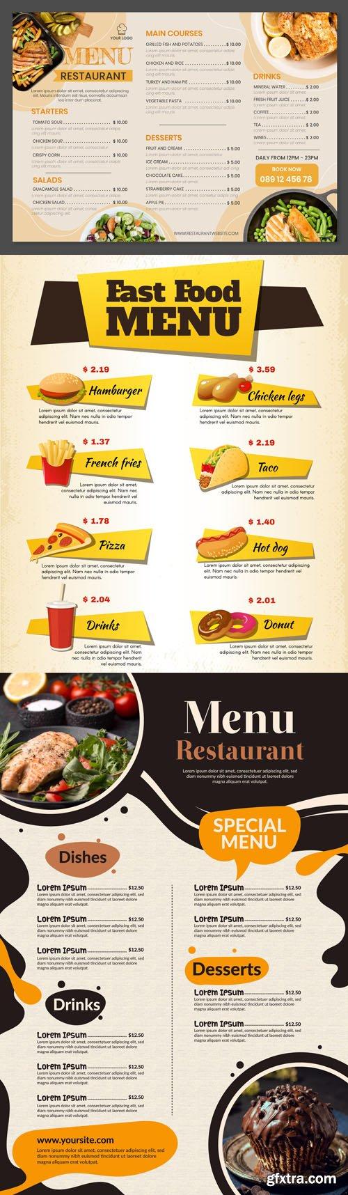 7 Creative Restaurant Menus - Vector Templates