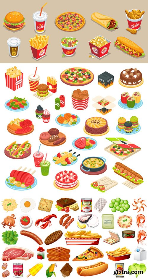 Isometric Food Elements Vector Collection