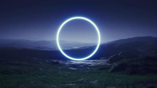 Videohive - Blue Circle Light on the Night Foggy Landscape - 33371717 - 33371717