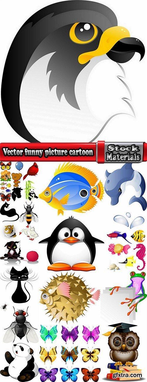 Vector funny picture cartoon animals panda tiger fish goose cow 25 eps