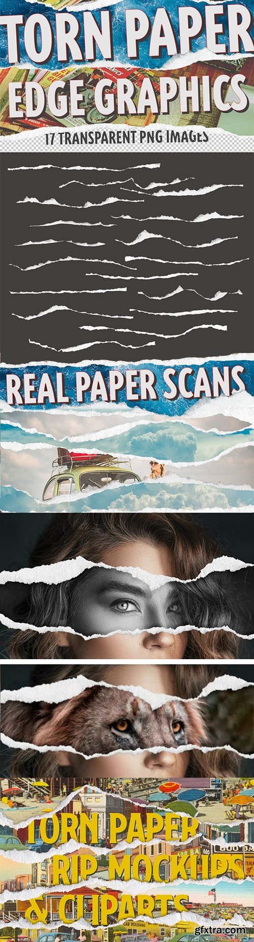 17 Torn Paper Edges - Real Paper Scans