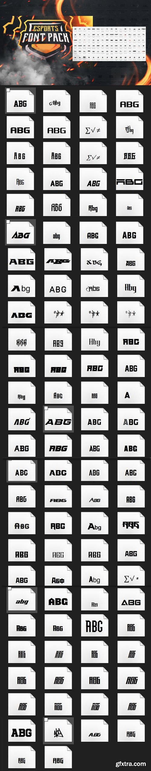 Esports Font Pack - 75 Fonts