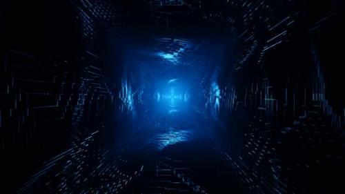 Videohive - Flight Into Cosmic Web Structure, Neon Blue Sci-fi Tunnel - 33405574 - 33405574