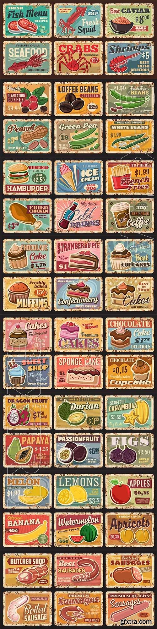 Food and drink advertisevector posters set