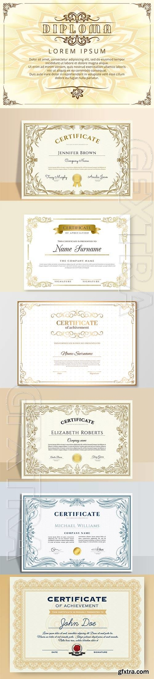 Engraving hand drawn ornamental vector certificate