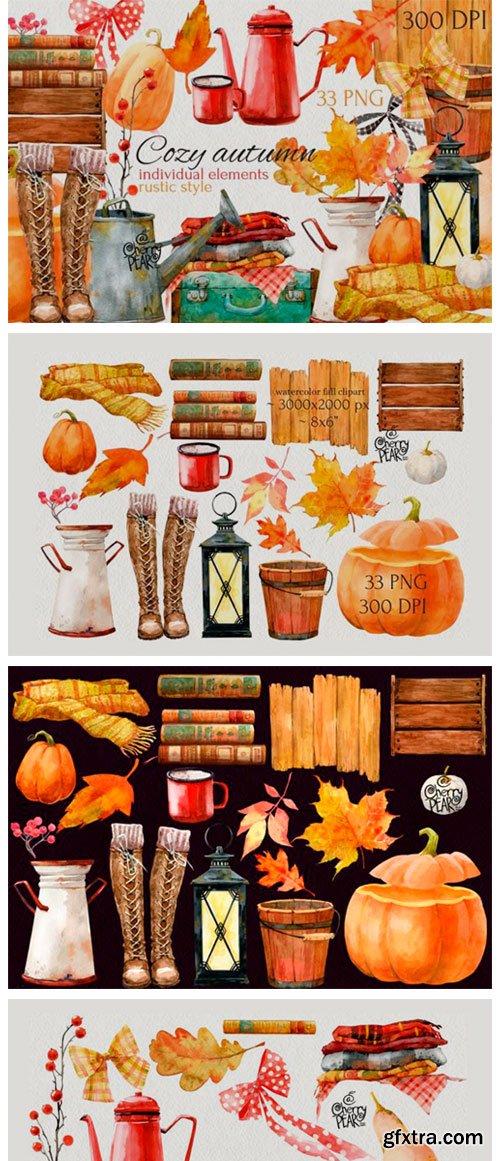 Cozy Autumn. Watercolor Fall Clipart Bundle 14715124