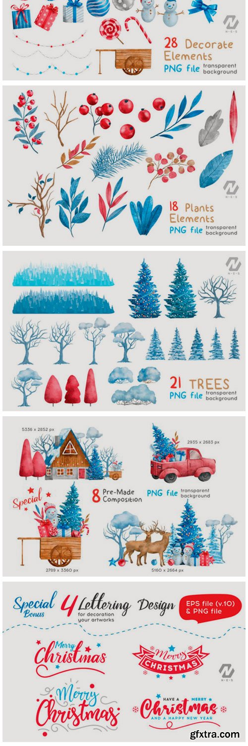 Christmas Happy Land Watercolor Elements 15543137