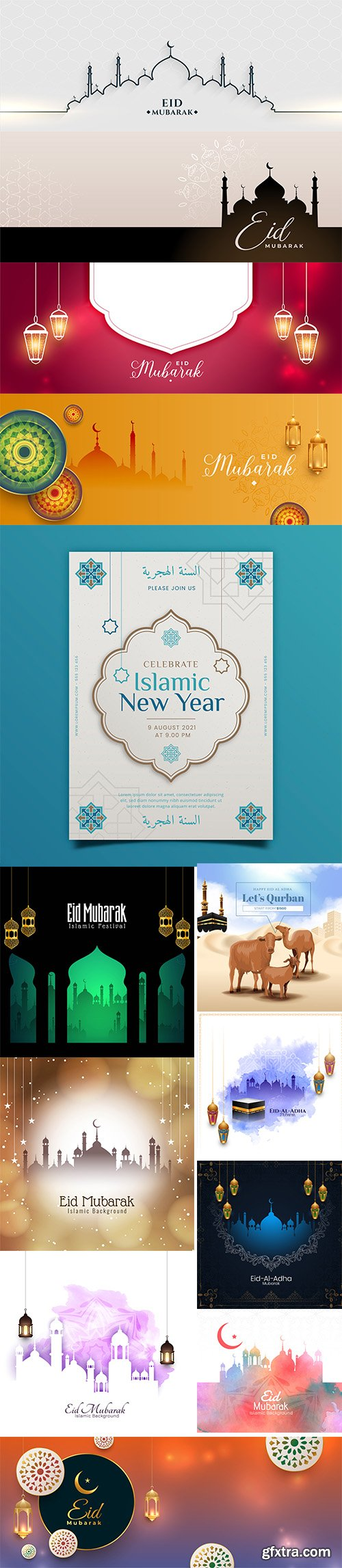 Eid mubarak banner with beautiful colors