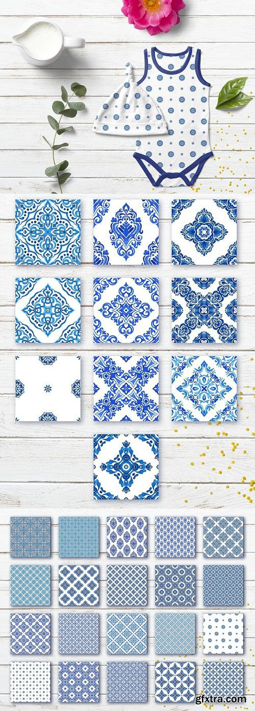 Digital Paper of Blue and White Tiles