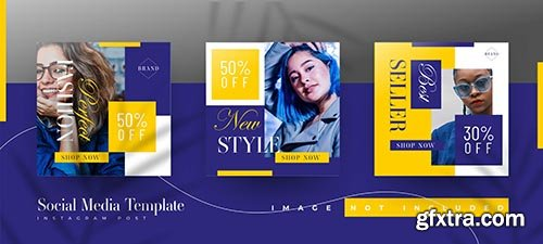 Fashion sale instagram post template set