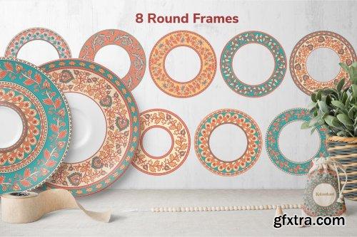 CreativeMarket - KALAMKARI. Vector Set Ornaments. 3809401
