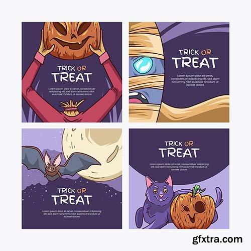 Hand-drawn halloween instagram posts collection
