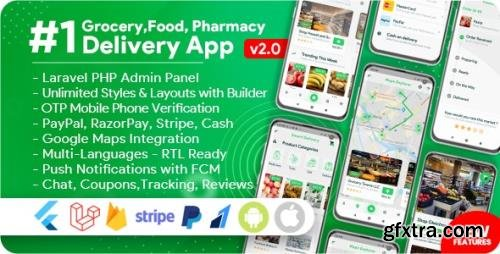 CodeCanyon - Grocery, Food, Pharmacy, Store Delivery Mobile App with Admin Panel v2.1 - 26409320 - NULLED