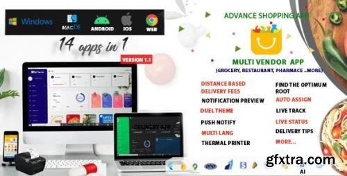 CodeCanyon - Multi-Vendor v1.1 - Food, Grocery, Pharmacy & Courier Delivery App | 14 apps - 33215179