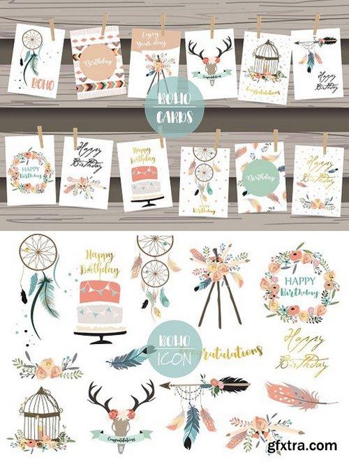 12 cute lovely design boho cards 5