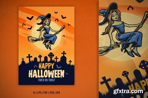 Halloween Design with Cute Witch Ride Flying Broom