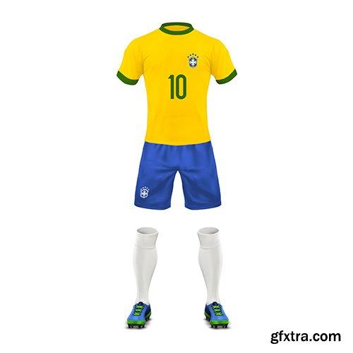 Soccer uniform brazil team set sports wear shirt, shorts, socks and boots