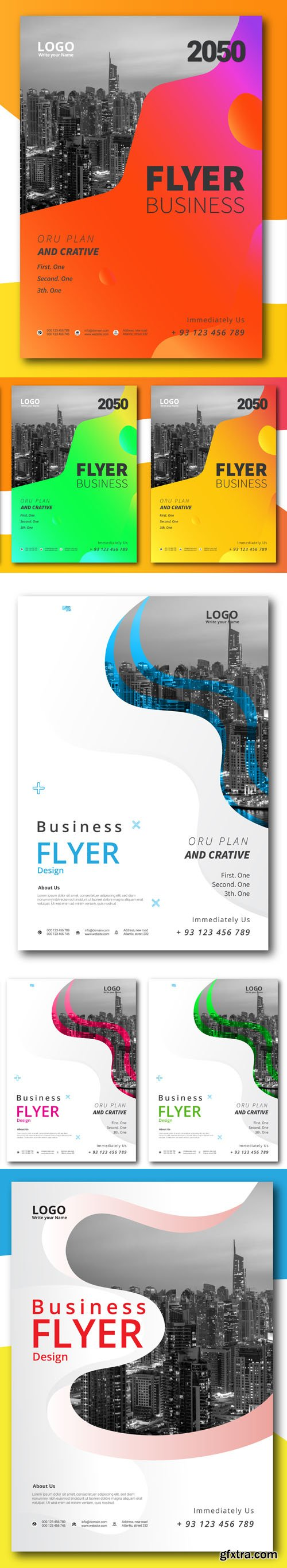 5 Creative Corporate Business Flyers Vector Templates