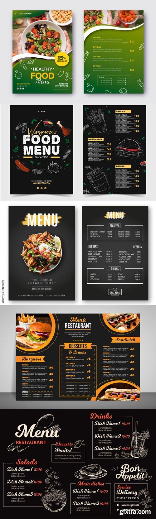 8 Modern Restaurant Menu Vector Templates