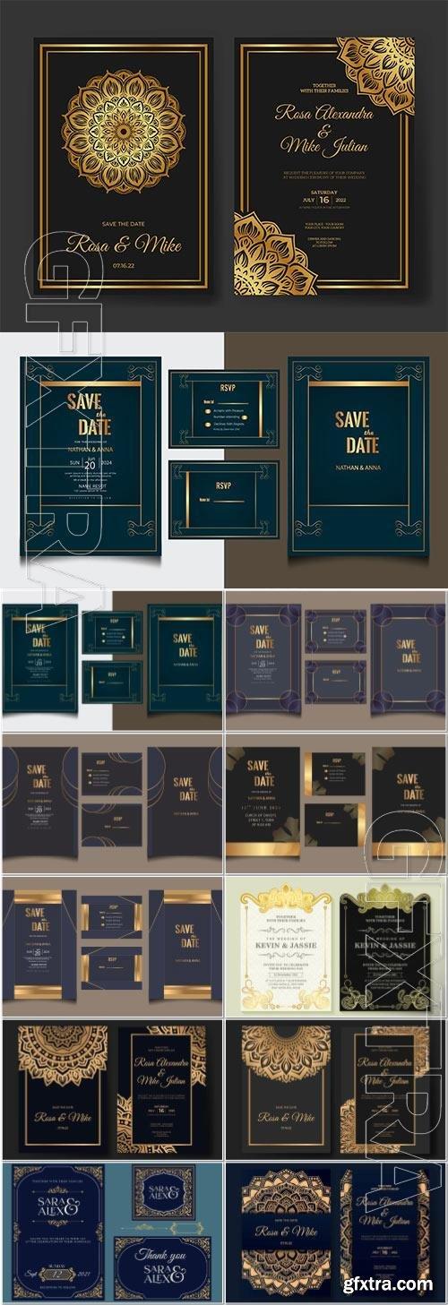 Luxury vector wedding invitation with mandaladesign