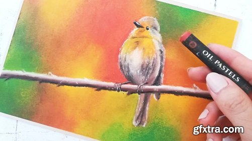 Layering Oil Pastels 101 : Paint a Realistic Bird with Autumn Colors