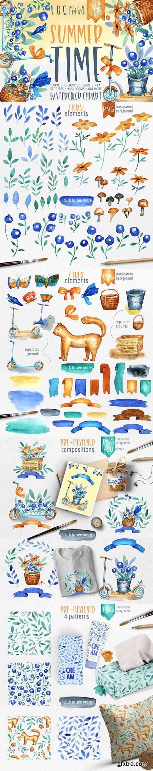 Summer Time - watercolor clipart
