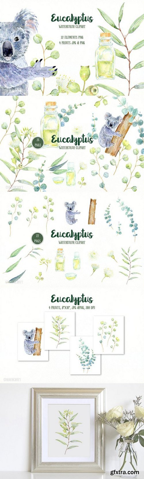 Watercolor Eucalyptus Koala Clip Art