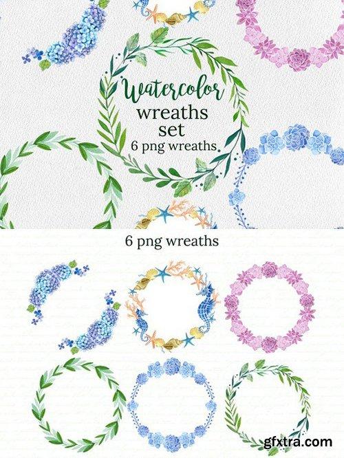 Watercolor Wreaths Set