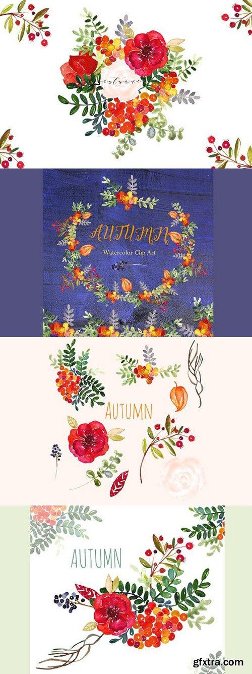 Autumn. Watercolor clip art