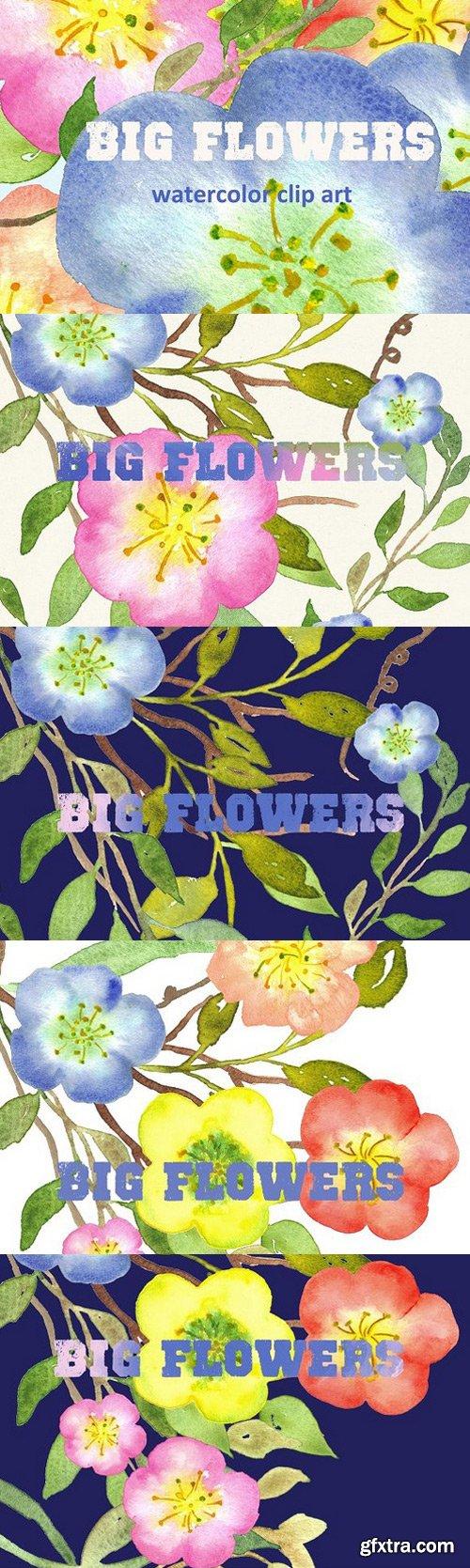 Big Flowers watercolor clip art